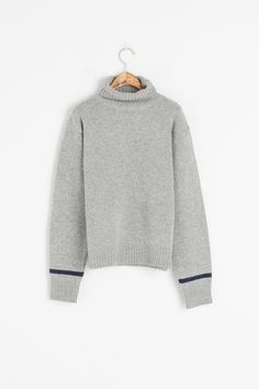 Colour Point Sleeve Roll Neck Jumper, Grey