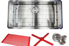 """Ariel Premium Stainless Steel 36"""" x 19"""" Undermount Kitchen Sink with Sink Grid and Drain Assembly"""
