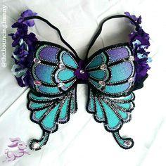 Blue purple butterfly rave bra glitter EDC Outfit