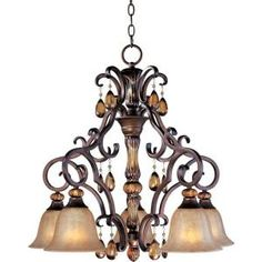 Illumine 5-Light 27 in. Down-Light Chandelier Filbert Finish Ember Glass Shade-HD-MA41504805 at The Home Depot