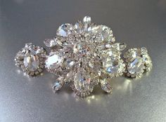 Eisenberg Rhinestone Brooch Earrings Set Huge by LynnHislopJewels