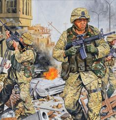 US marines and rangers in Fallujah, Iraq