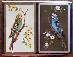 1 Single VINTAGE Swap//Playing Card BIRDS PARAKEET BUDGIES Brown on Black