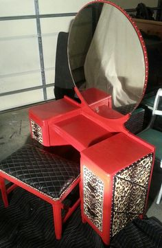 Red and leopard vanity