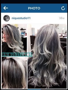 Granny hair. Grey hair. Gray hair. Gray color. Silver hair, highlighted, lowlighted. Highlight lowlight Nique V. @NiqueStudio11 haircolor. Long hair. Layered hair. Layers.