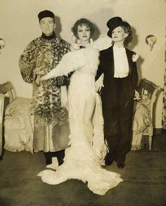 Marlene Dietrich at Basil Rathbone's costume party with Clifton Webb and Elizabeth Allen. Courtesy Decaying Hollywood Mansions.