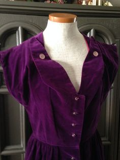 40s Purple Velvet Evening Cocktail Dress Prestige by CompanyV Women's vintage fall winter party fashion