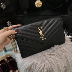 8b0130d77238c Saint Laurent 360452 Monogram Chain Wallet in Matelasse Leather Black  Hardware)     Real Purse