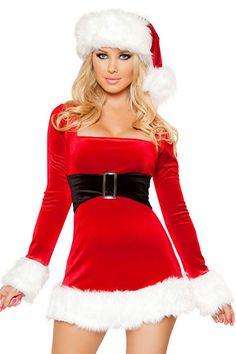 2 delig Mrs Santa Claus Dress Artikelcode: 877219 2 delig kerst kostuum voor dames. Bestaande uit fluwelen jurk en kerst muts. De wit bonte beenwarmers zijn er afzonderlijk bij te bestellen. De voorzijde is een aanvast gemaakte zwarte fluwelen riem met metalen gesp en uiteindes zijn versierd met witte bont randen. Maat van dit kerstjurkje: One size (pas ieder met maat Small tot Large)