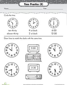 Worksheets: Time Review: Time Match
