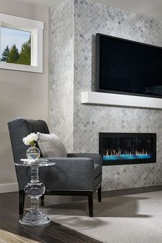 Floor And Decor Fireplace Tile.Pin On Interior Design. Pin By Tausha Nelson On Living Room In 2019 Home . Craftsman Light Fixtures Ideas Pictures Remodel And Decor. Home and Family Tiled Fireplace Wall, Fireplace Tile Surround, Linear Fireplace, Home Fireplace, Faux Fireplace, Fireplace Remodel, Living Room With Fireplace, Fireplace Surrounds, Fireplace Design
