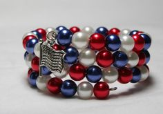 of July Red White and Blue Bracelet Memory Wire Bracelet Wrap Bracelet Pearl Bracelet Women's Jewelry Americana Patriotic Memory Wire Jewelry, Memory Wire Bracelets, Handmade Bracelets, Jewelry Bracelets, Handmade Jewelry, Wrap Bracelets, Holiday Jewelry, Pearl Bracelet, Jewelry Crafts