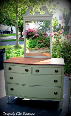 Sage Green Federal Dresser w/ Mirror and Nightstand by suezcues: great color