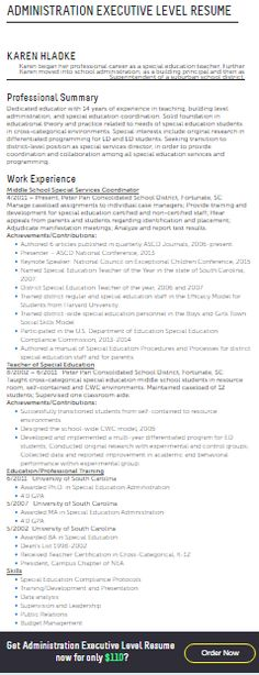 Executive Resume Examples Sports Executive Executive Resume - sample resume for administration