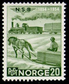 Norway, stamp of horse and iron horse with flatcar loaded with lumber