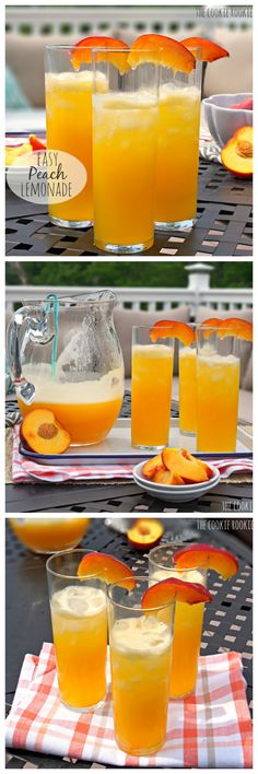 EASY PEACH LEMONADE! Only TWO ingredients.  Cocktail and Nonalcoholic versions. Favorite Summer Drink! - The Cookie Rookie