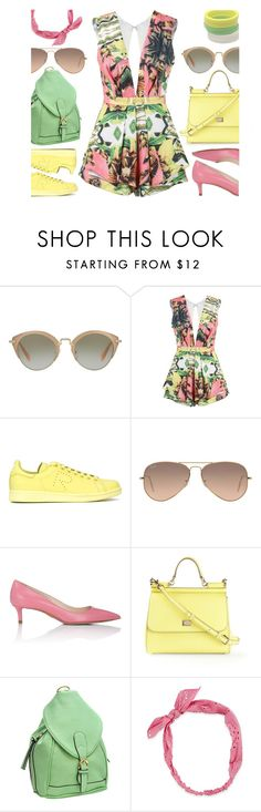 """Pastel Summer (Contest Entry)"" by mmmartha ❤ liked on Polyvore featuring Miu Miu, Posh Girl, adidas, Ray-Ban, Prada, Dolce&Gabbana, Dasein, Carole and By Malene Birger"