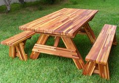 """Forever Picnic Table (Options: 6' L, 34 ½"""" W, Side Benches, Mosaic Eco-Wood, 1 Full Length Side Benches Per Side, Standard Tabletop, Squared Corners, No Umbrella Hole, Transparent Premium Sealant)."""