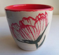 Red Poppy Cup, Natural White Background, Bright Red Interior, Featuring Two Red Poppy Silkscreen Designs