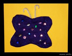 June 13 is Sewing Machine Day!  Here is a simple butterfly sewing project for kids...
