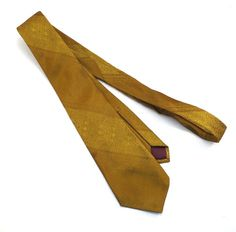 Gold on Gold Pattern Skinny Tie 1960s Vintage by VintageCreekside