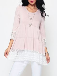 Hollow Out Lace Patchwork Concise Round Neck Casual-t-shirts