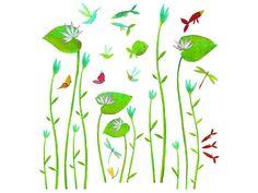 Wandsticker mit Wasserlilien von Djeco. Mit diesen 54 Stickern können Sie Ihre eigenen Wasserlilien auf Ihre Tapete oder Fensterscheibe pflanzen. Die Sticker lassen sich problemlos wieder ablösen. Höhe: cirka 54 cm.