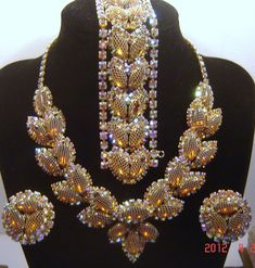 Vintage Kramer Topaz Rhinestone AB Netted Necklace Bracelet Earring Set Book