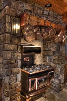 Ideas Wood Burning Stove Decor Ideas Rustic For 2019 Cabin Homes, Log Homes, Rustic Lake Houses, Wood Stove Cooking, Wood Burning Cook Stove, Vintage Stoves, Country Kitchen, Kitchen Rustic, Stone Kitchen