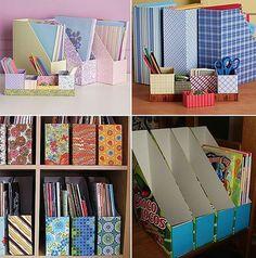 46 Ideas For Desk Organization Diy Cardboard Cereal Boxes Desk Organization Diy, Diy Desk, Diy Storage, Makeup Storage, Diy Magazine Holder, Diy Karton, Diy Rangement, Cardboard Crafts, Decorative Cardboard Boxes