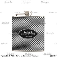 Stylish Black White Custom Design Groomsmen Gift Flask Groomsmen Gifts Unique, Groomsman Gifts, Unique Gifts, Wedding Gifts For Parents, Personalized Gifts For Men, Wedding Keepsakes, Bar Accessories, Wedding Party Favors, Father Of The Bride