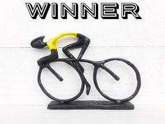 Bicycle Rider Statue Figurine Cycling Gift Tour De France , Bike Gift , Gift For Men , Yellow T Shirt , Bike Rider , Cyclist