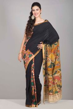 Magical Black Mangalagiri Cotton Kalamkari Saree With Floral Motifs On The Red Panels Across And Peacock Motifs On The Pallu