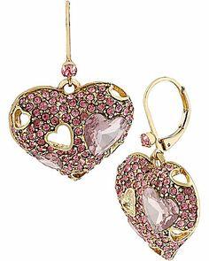 ICONIC PINKALIOUS HEART DROP EARRNG FUSCHIA accessories jewelry earrings fashion