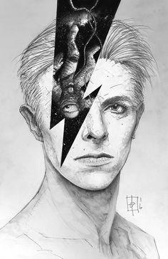 ♥ David Bowie ♥ Artwork by Tomas Overbai David Bowie Tattoo, David Bowie Art, Major Tom, Angela Bowie, Pop Art, David Bowie Tribute, Rock Poster, Pop Rock, Ziggy Stardust