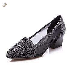 AmoonyFashion Women's Pointed Closed Toe Pull On Blend Materials Solid Kitten Heels Pumps Shoes, Black, 36 - Amoonyfashion pumps for women (*Amazon Partner-Link)