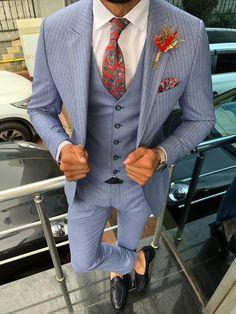 Collection : SPRING - SUMMER : Slim-Fit Striped suit vest blue Color code : BLUE Available Size : material : Viscon, Polyester, Elestan Machine washable : No Fitting : slim-fit Cutting : double button, double slitsRemarks : Dry Cleaning Blazer Vest, Suit Vest, Mens Fashion Suits, Mens Suits, Pinstripe Suit, Formal Suits, 3 Piece Suits, Fitted Suit, Gentleman Style