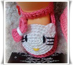 Sapatinho Hello kitty em croch�