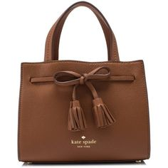 Kate Spade Hayes Street Mini Isobel ($240) ❤ liked on Polyvore featuring bags, handbags, brown, print handbags, kate spade handbag, bow purse, brown bag and tassel handbags