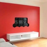 Furniture and Accessories. Pretty Red Wall Accent and Nice White Floating TV Cabinet with Two Storage for Contemporary Living Room Idea. Pretty Floating TV Cabinets Ideas