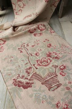 Vintage French Printed Linen Cotton Fabric Faded Rose Bouquet Bird | eBay