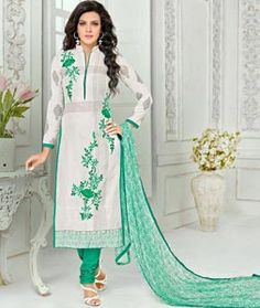 Buy Off White Chanderi Cotton Churidar Suit 72175 online at lowest price from huge collection of salwar kameez at Indianclothstore.com.