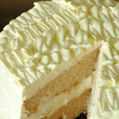 . Banana Cream Cake With Ruffled Vanilla Frosting Recipe from Grandmothers Kitchen.