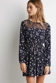 Floral Lace-Paneled Dress | Forever 21 - 2000115432