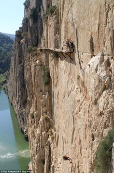 The final stages of the El Caminito del Rey path have fallen through, so walkers must descend down around 100 meters in order to complete the trail.