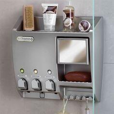 Shower Dispenser Organizer in Satin Nickel