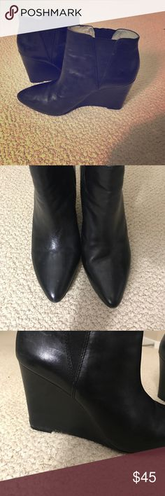 Louis et Cie size 9 Wedges Beautiful black leather wedges. Worn but in good condition. Perfect classic wedge Shoes Ankle Boots & Booties