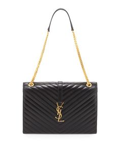Cassandre Chain-Strap Matelasse Shoulder Bag, Black by Saint Laurent at Neiman Marcus.