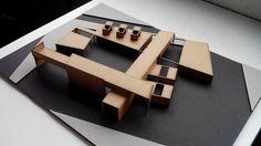Maqueta abstracta, espacios, relaciones volumetricas
