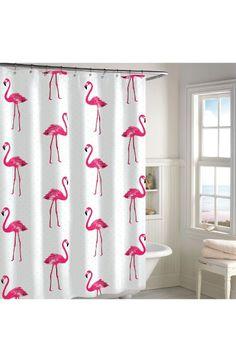 Main Image - Destinations Pink Flamingo Shower Curtain